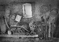Shed with garden tools