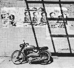 Motorcycle parked on Ibiza street in 1976