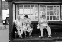 People in bus shelter at the seaside